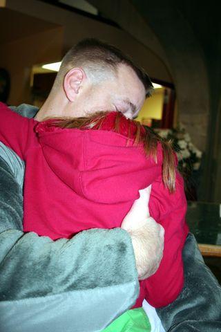 Daddy Bye Bye Hannah Hug